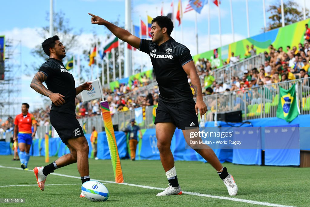 Akira Ioane of New Zeland celebrates scoring a try during the Men's Rugby Sevens placing match between New Zealand and France on day six of the Rio 2016 Olympic Games at Deodoro Stadium on August 11, 2016 in Rio de Janeiro, Brazil.