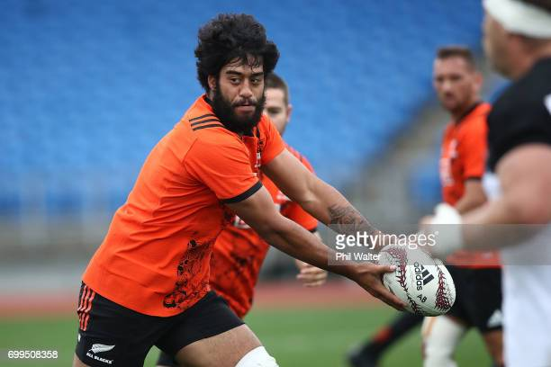Akira Ioane of the All Blacks during a New Zealand All Blacks training session at Trusts Stadium on June 22 2017 in Auckland New Zealand