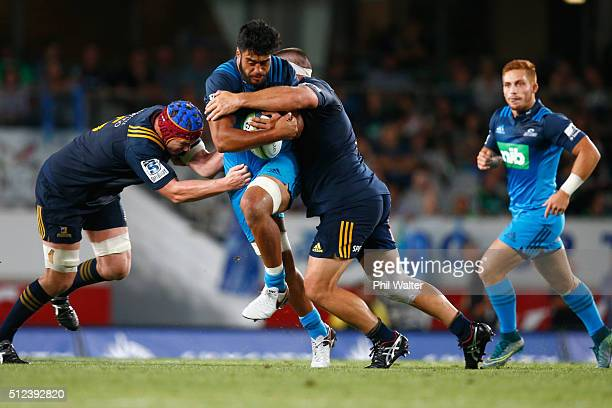 Akira Ioane of the Blues is tackled during the round one Super Rugby match between the Blues and the Highlanders at Eden Park on February 26 2016 in...