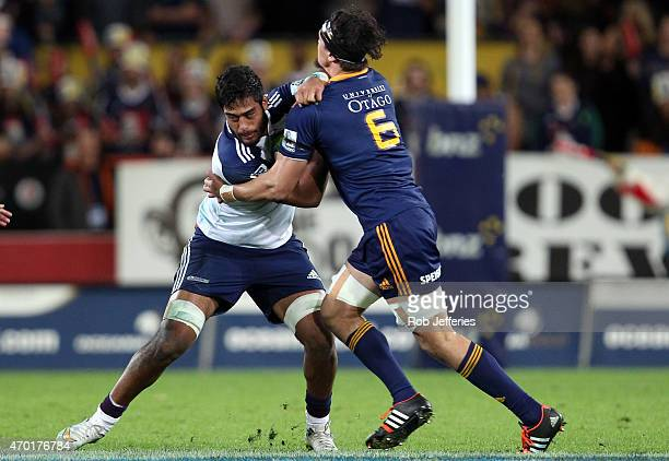 Akira Ioane of the Blues on the charge during the round 10 Super Rugby match between the Highlanders and the Blues at Forsyth Barr Stadium on April...