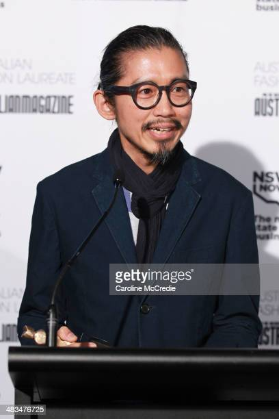 Akira Isogawa presents the winner of Best Australian Womenswear Brand which was one by Dion Lee during MercedesBenz Fashion Week Australia 2014 at...