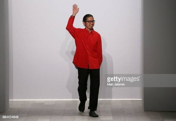 Akira Isogawa thanks the audience during the Akira show at MercedesBenz Fashion Week Resort 18 Collections at Carriageworks on May 18 2017 in Sydney...