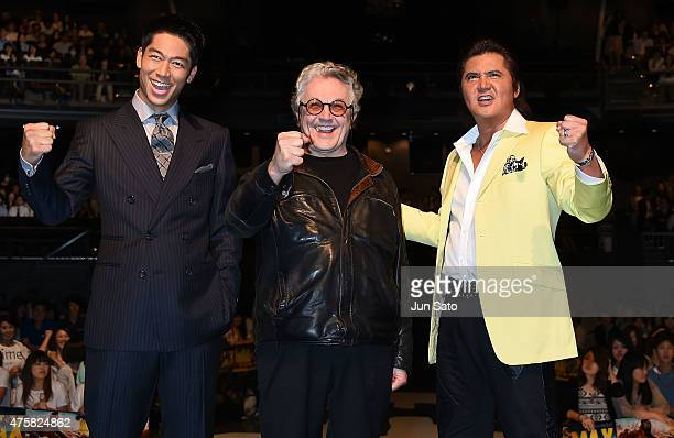 Akira of performing group Exile director George Miller and actor Riki Takeuchi attend the 'Mad Max Fury Road' Japan premiere at Tokyo Dome City Hall...