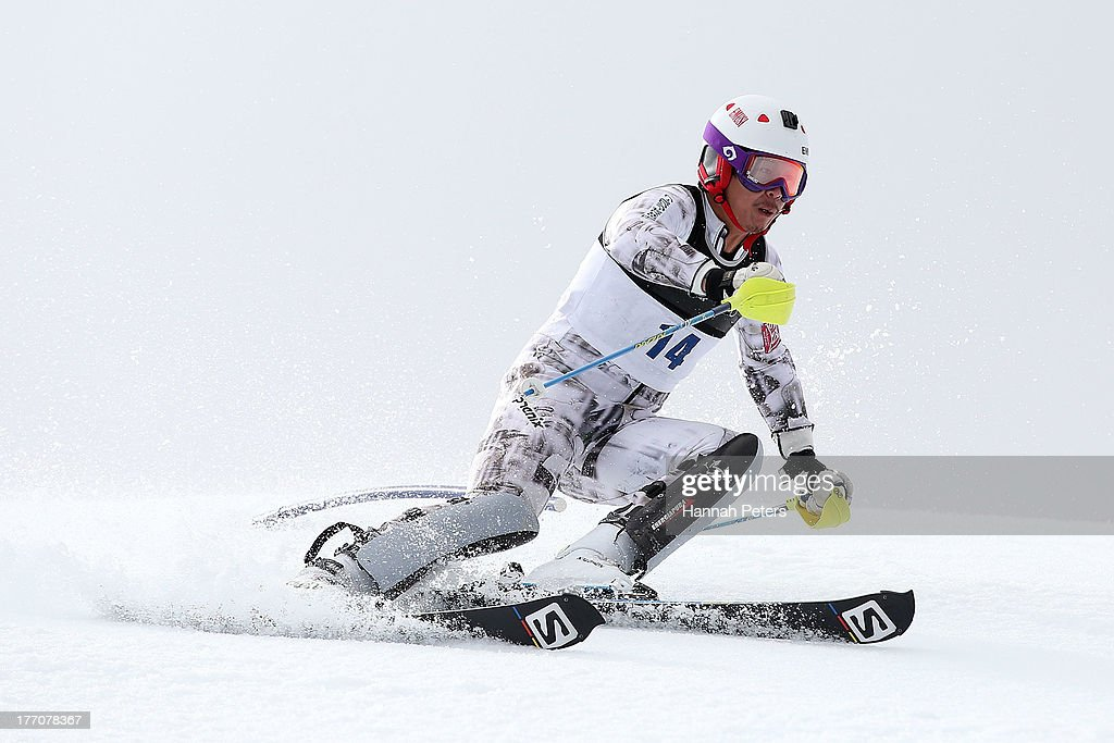 <a gi-track='captionPersonalityLinkClicked' href=/galleries/search?phrase=Akira+Sasaki&family=editorial&specificpeople=802771 ng-click='$event.stopPropagation()'>Akira Sasaki</a> of Japan competes during the Alpine Slalom (FIS Australia New Zealand Cup) during day seven of the Winter Games NZ at Coronet Peak on August 21, 2013 in Queenstown, New Zealand.
