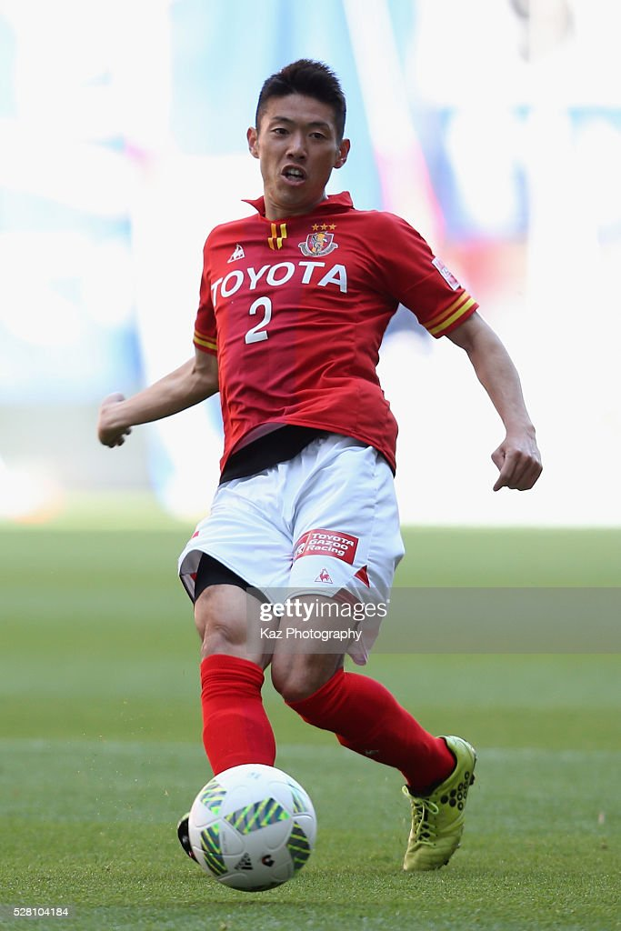 Akira Takeuchi of Nagoya Grampus in action during the J.League match between Nagoya Grampus and Yokohama F.Marinos at the Toyota Stadium on May 4, 2016 in Toyota, Aichi, Japan.