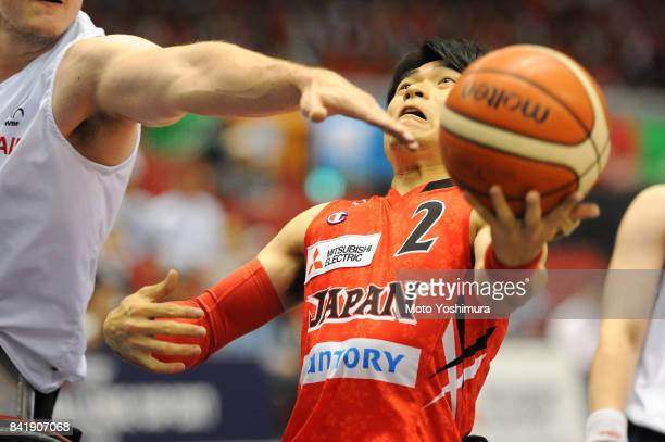 Akira Toyoshima of Japan in action during the Wheelchair Basketball World Challenge Cup match between Great Britain and Japan at the Tokyo...