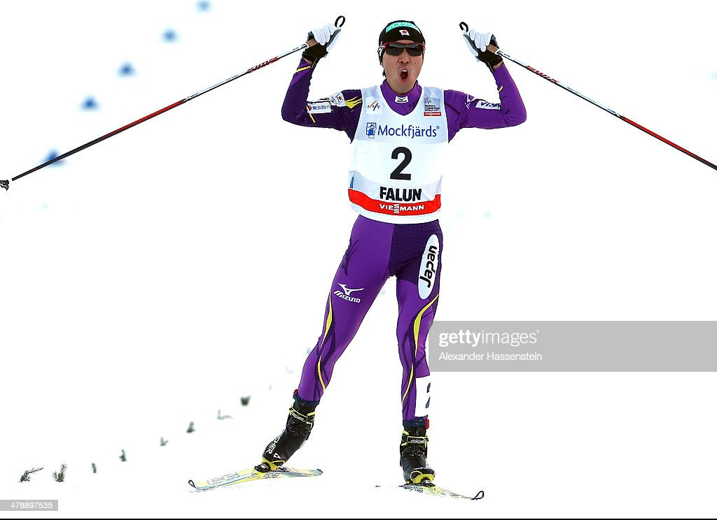 <a gi-track='captionPersonalityLinkClicked' href=/galleries/search?phrase=Akito+Watabe&family=editorial&specificpeople=829954 ng-click='$event.stopPropagation()'>Akito Watabe</a> of Japan competes in the Nordic Combined Individual Gundersen Normal Hill 10km Cross Country event at Riksskidstadion Lugnet on March 15, 2014 in Falun, Sweden.