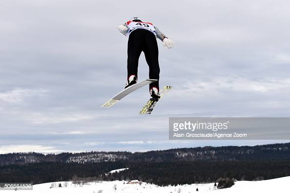 Akito Watabe of Japan competes on his way to taking 3rd place place during the FIS Nordic World Cup Men's Nordic Combined HS118/10km on January 24...