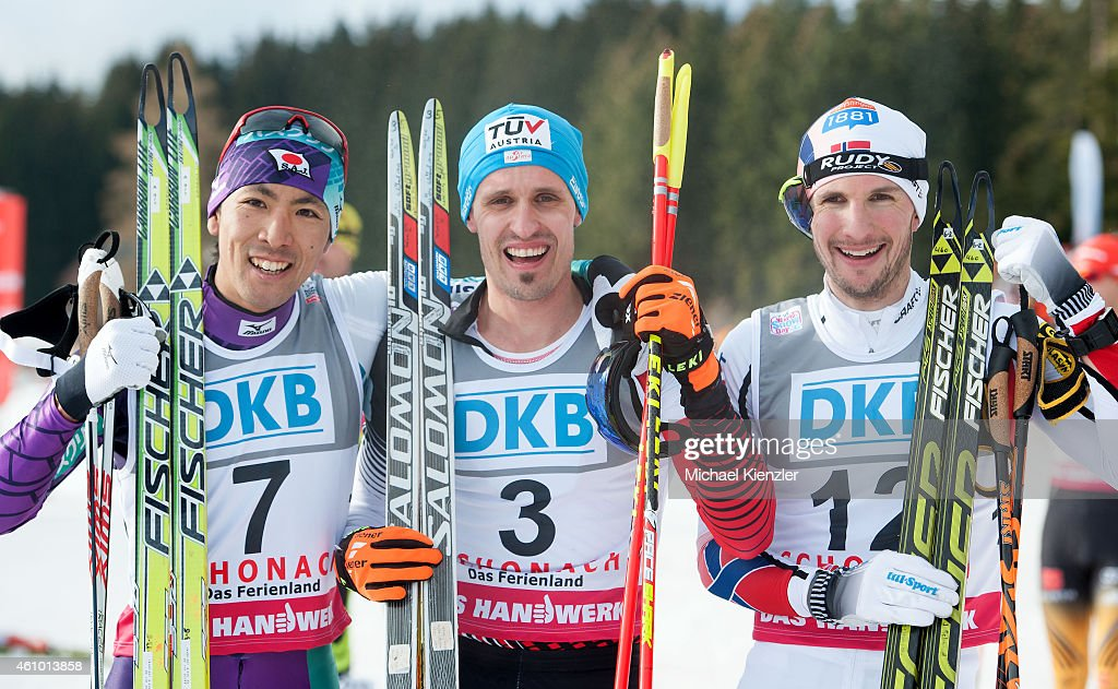 <a gi-track='captionPersonalityLinkClicked' href=/galleries/search?phrase=Akito+Watabe&family=editorial&specificpeople=829954 ng-click='$event.stopPropagation()'>Akito Watabe</a> of Japan in second place, Winner <a gi-track='captionPersonalityLinkClicked' href=/galleries/search?phrase=Lukas+Klapfer&family=editorial&specificpeople=5744499 ng-click='$event.stopPropagation()'>Lukas Klapfer</a> of Austria and third placeJan Schmid (L-R) of Norway pose during Day Two of the FIS Nordic Combined World Cup HS 106 Team Competition on January 4, 2015 in Schonach, Germany.