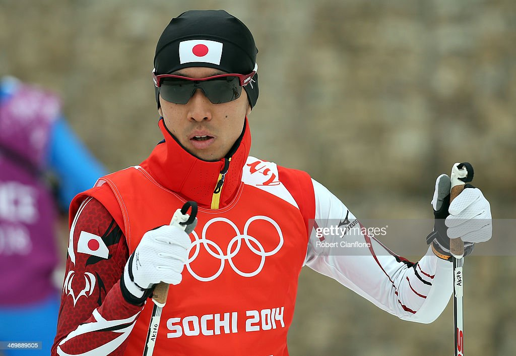 <a gi-track='captionPersonalityLinkClicked' href=/galleries/search?phrase=Akito+Watabe&family=editorial&specificpeople=829954 ng-click='$event.stopPropagation()'>Akito Watabe</a> of Japan is seen during the Nordic Combined 10km official training on day 10 of the Sochi 2014 Winter Olympics at RusSki Gorki Jumping Center on February 17, 2014 in Sochi, Russia.