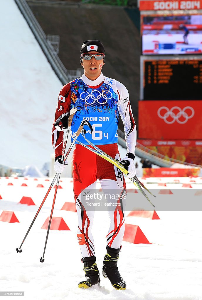 <a gi-track='captionPersonalityLinkClicked' href=/galleries/search?phrase=Akito+Watabe&family=editorial&specificpeople=829954 ng-click='$event.stopPropagation()'>Akito Watabe</a> of Japan lookson after the Nordic Combined Men's Team 4 x 5 km during day 13 of the Sochi 2014 Winter Olympics at RusSki Gorki Jumping Center on February 20, 2014 in Sochi, Russia.