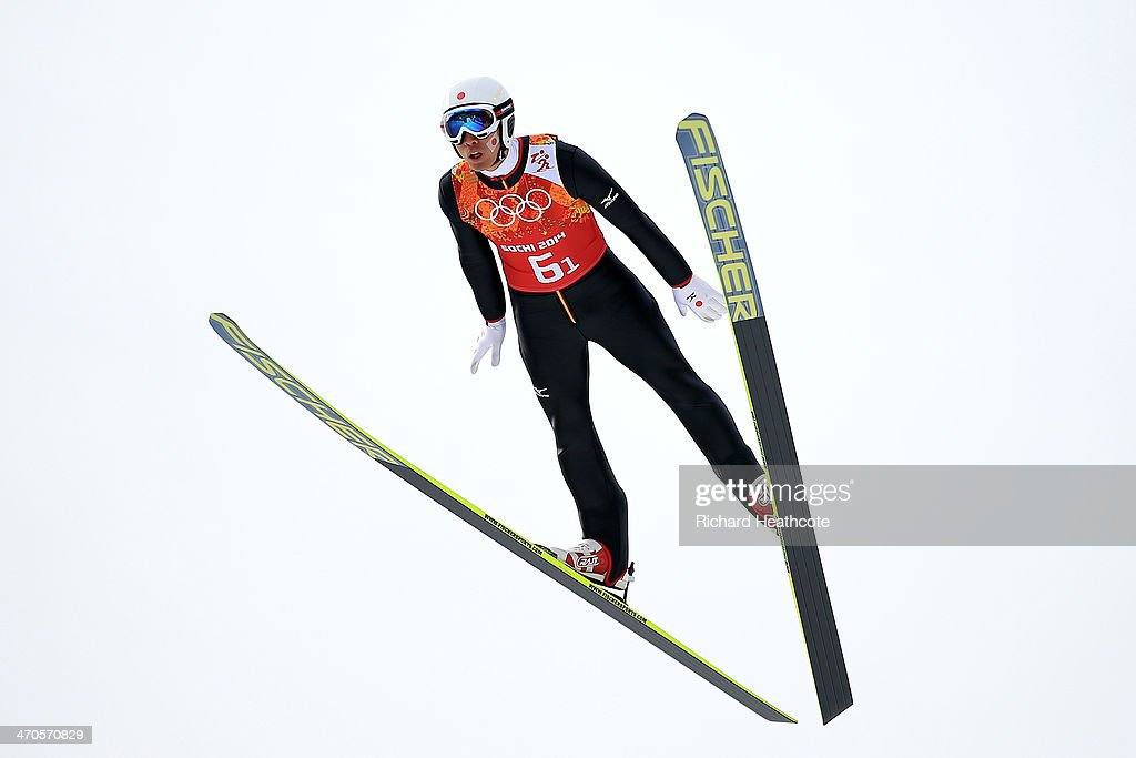 <a gi-track='captionPersonalityLinkClicked' href=/galleries/search?phrase=Akito+Watabe&family=editorial&specificpeople=829954 ng-click='$event.stopPropagation()'>Akito Watabe</a> of Japan performs a trial jump ahead of the Nordic Combined Men's Team LH during day 13 of the Sochi 2014 Winter Olympics at RusSki Gorki Jumping Center on February 20, 2014 in Sochi, Russia.