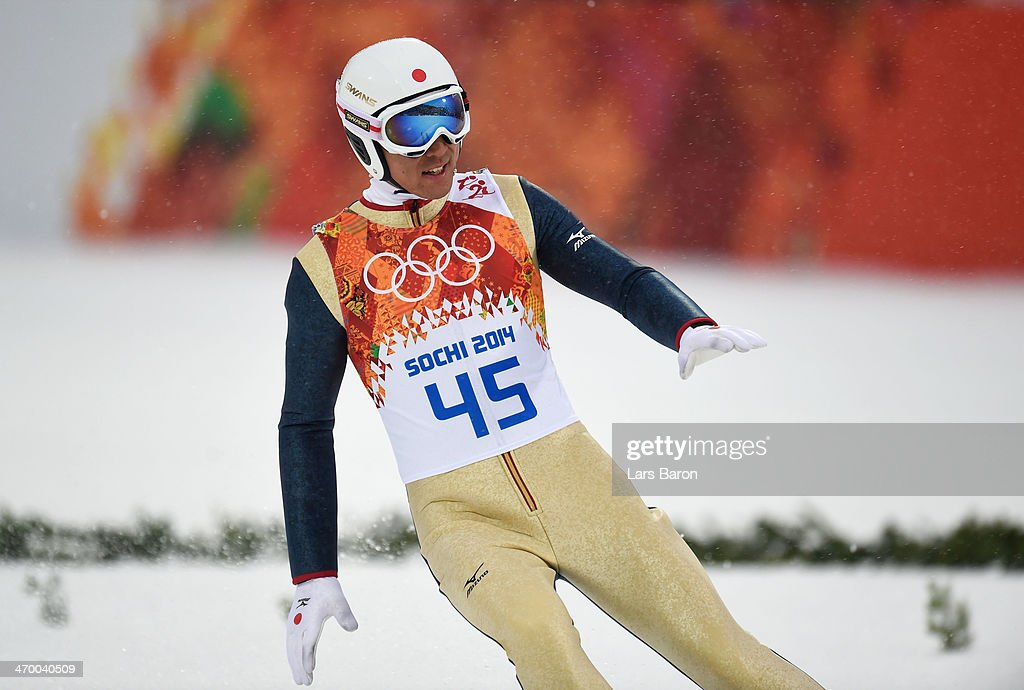 <a gi-track='captionPersonalityLinkClicked' href=/galleries/search?phrase=Akito+Watabe&family=editorial&specificpeople=829954 ng-click='$event.stopPropagation()'>Akito Watabe</a> of Japan reacts after landing a jump in the Nordic Combined Men's Individual LH during day 11 of the Sochi 2014 Winter Olympics at RusSki Gorki Jumping Center on February 18, 2014 in Sochi, Russia.
