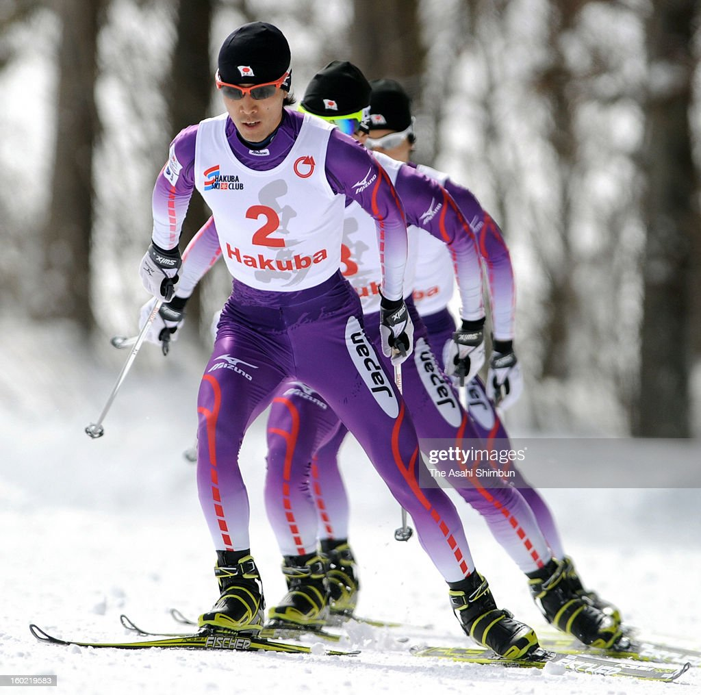 Akito Watabe takes a lead during the All Japan Nordic Combined Championship on January 27, 2013 in Hakuba, Nagano, Japan.