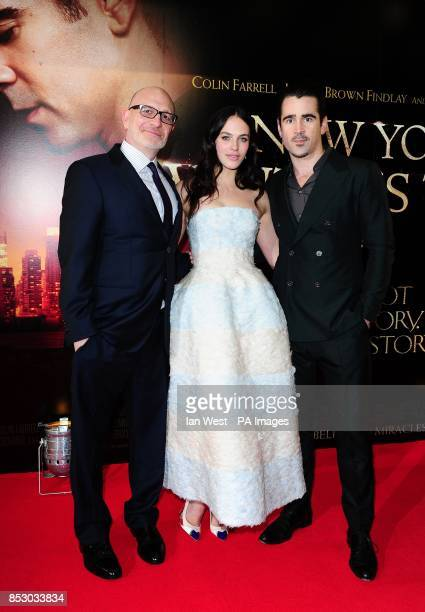 Akiva Goldsman Jessica Brown Findlay and Colin Farrell attending the premiere of A New York Winter's Tale at the Odeon Kensington London