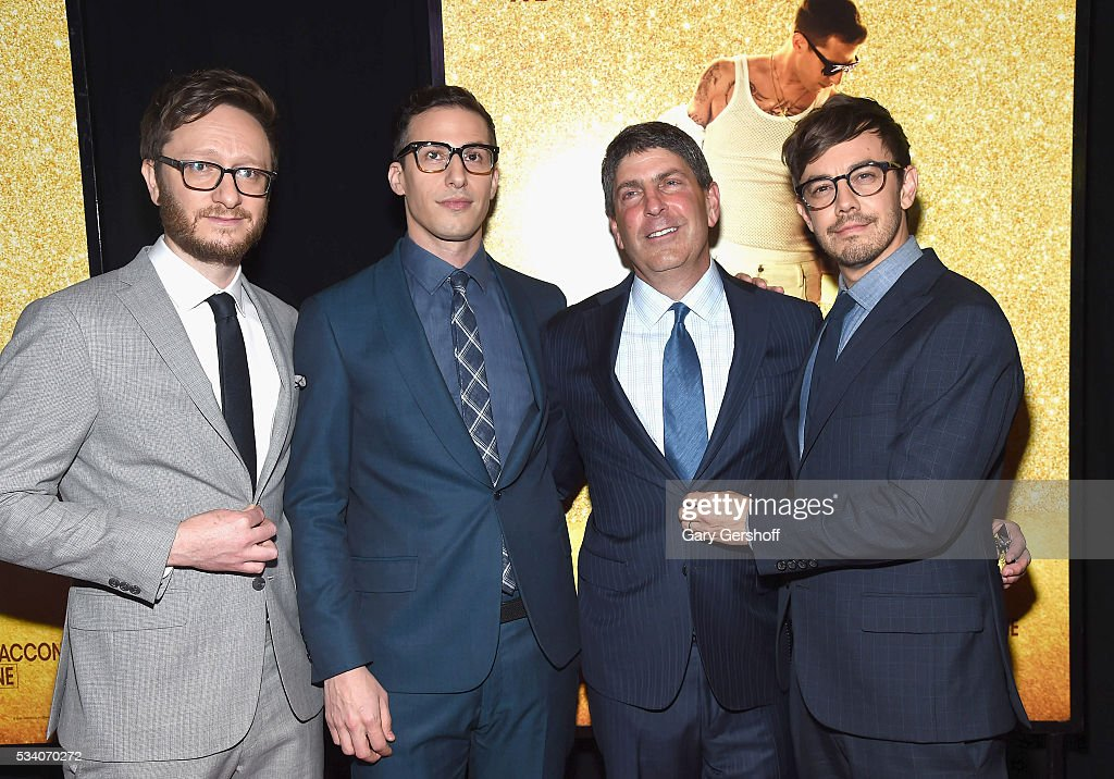<a gi-track='captionPersonalityLinkClicked' href=/galleries/search?phrase=Akiva+Schaffer&family=editorial&specificpeople=4378588 ng-click='$event.stopPropagation()'>Akiva Schaffer</a>, <a gi-track='captionPersonalityLinkClicked' href=/galleries/search?phrase=Andy+Samberg&family=editorial&specificpeople=595651 ng-click='$event.stopPropagation()'>Andy Samberg</a>, Chairman, Universal Filmed Entertainment Group, Jeff Shell and <a gi-track='captionPersonalityLinkClicked' href=/galleries/search?phrase=Jorma+Taccone&family=editorial&specificpeople=4432803 ng-click='$event.stopPropagation()'>Jorma Taccone</a> attend the 'Popstar: Never Stop Never Stopping' New York premiere at AMC Loews Lincoln Square 13 theater on May 24, 2016 in New York City.