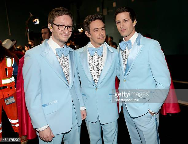 Akiva Schaffer Jorma Taccone and Andy Samberg of 'The Lonely Island' attend the 87th Annual Academy Awards at Dolby Theatre on February 22 2015 in...