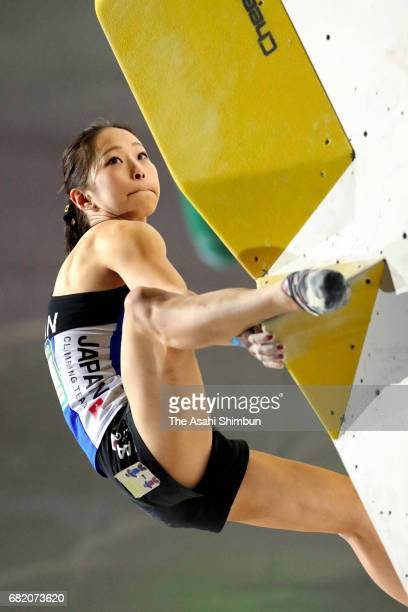 Akiyo Noguchi of Japan competes in the Women's Bouldering Final during the IFSC Climbing Worldcup Hachioji at Esforta Arena Hachioji on May 7 2017 in...