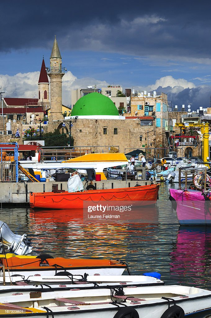 Akko Port with colorful boats