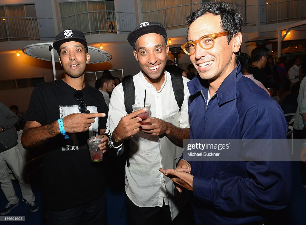 DJ Ako, DJ Atiba and designer Geoff McGetridge attend Warby Parker's store opening in The Standard, Hollywood on August 15, 2013 in Los Angeles, California.