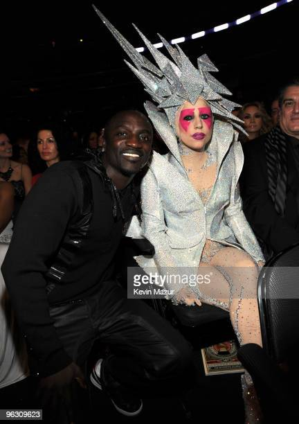 Akon and Lady Gaga attends the 52nd Annual GRAMMY Awards held at Staples Center on January 31 2010 in Los Angeles California