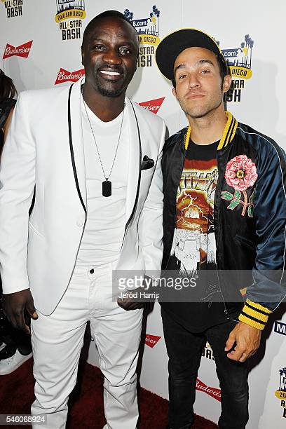 Akon and Pete Wentz arrive at the MLBcom All Star Bash at the San Diego Convention Center's Sails Pavillion on July 10 2016 in San Diego California