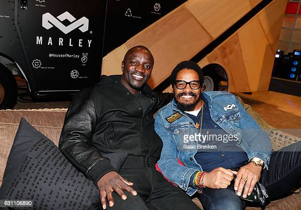 Akon and Rohan Marley are picuted at the House of Marley booth during CES 2017 on January 6 2017 in Las Vegas Nevada