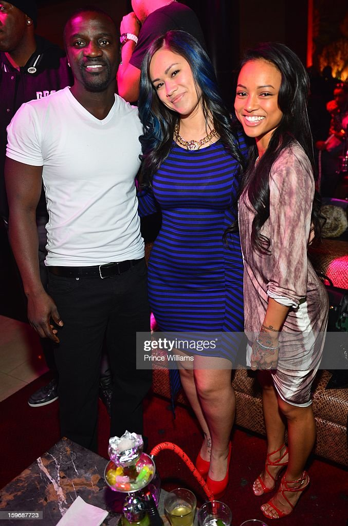 Akon, Sarah Vivan and Karrueche Tran attend The Kill Collection launch at Vanquish Lounge on January 17, 2013 in Atlanta, Georgia.