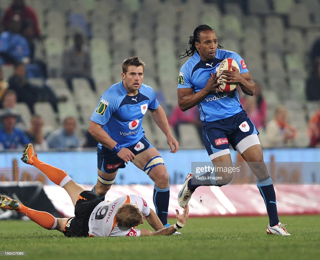 <a gi-track='captionPersonalityLinkClicked' href=/galleries/search?phrase=Akona+Ndungane&family=editorial&specificpeople=627698 ng-click='$event.stopPropagation()'>Akona Ndungane</a> of the Blue Bulls during the Absa Currie Cup match between Toyota Free State Cheetahs and Vodacom Blue Bulls at Free State Stadium on August 17, 2012 in Bloemfontein, South Africa.
