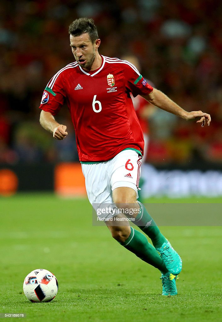 Akos Elek of Hungary in action prior to the UEFA EURO 2016 round of 16 match bewtween Hungary and Belgium at Stadium Municipal on June 26, 2016 in Toulouse, France.