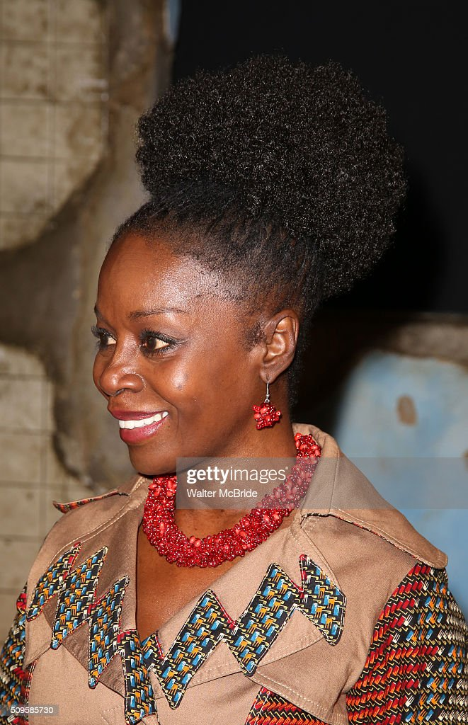 Akosua Busia attends the meet and greet the all-female cast and creative team and launch of the 10,000 girls initiative of Broadway's 'Eclipsed' at the Golden Theatre on February 11, 2016 in New York City.