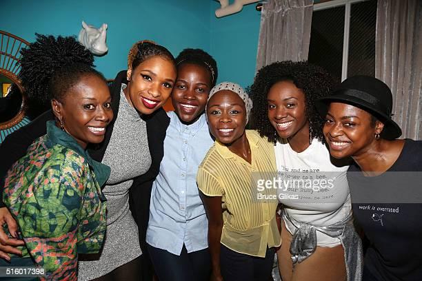 Akosua Busia Jennifer Hudson Lupita Nyong'o Zainab Jah Saycon Sengbloh and Pascale Armand pose backstage at the play 'Eclipsed' on Broadway at The...