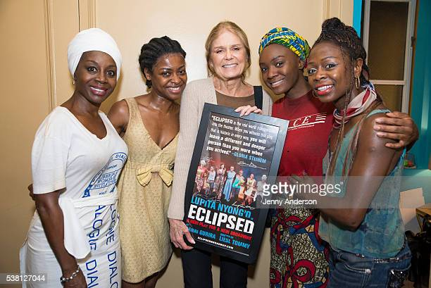 Akosua Busia Pascale Armand Gloria Steinem Saycon Sengbloh and Zainab Jah backstage at Broadway's 'Eclipsed' on June 4 2016 in New York City