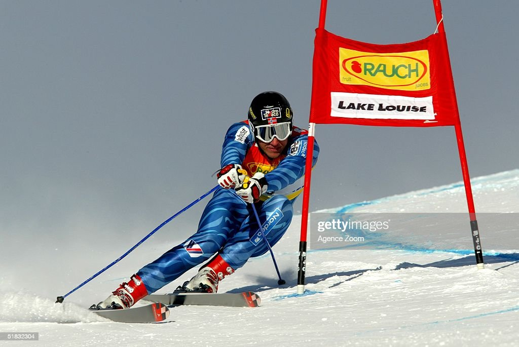 Aksel Lund Svindal in action during Day Two of the FIS Ski World Cup Mens Super Giant Slalom competition on November 28, 2004 in Lake Louise, Canada.