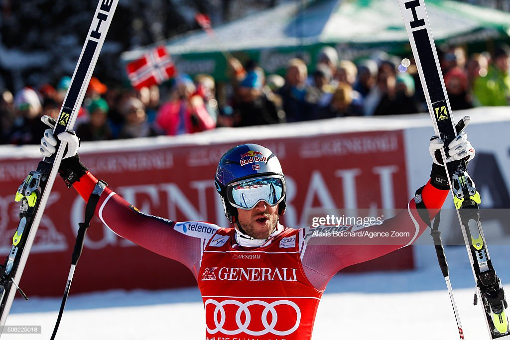 <a gi-track='captionPersonalityLinkClicked' href=/galleries/search?phrase=Aksel+Lund+Svindal&family=editorial&specificpeople=227957 ng-click='$event.stopPropagation()'>Aksel Lund Svindal</a> of Norway celebrates during the Audi FIS Alpine Ski World Cup Men's Super-G on January 22, 2016 in Kitzbuehel, Austria.