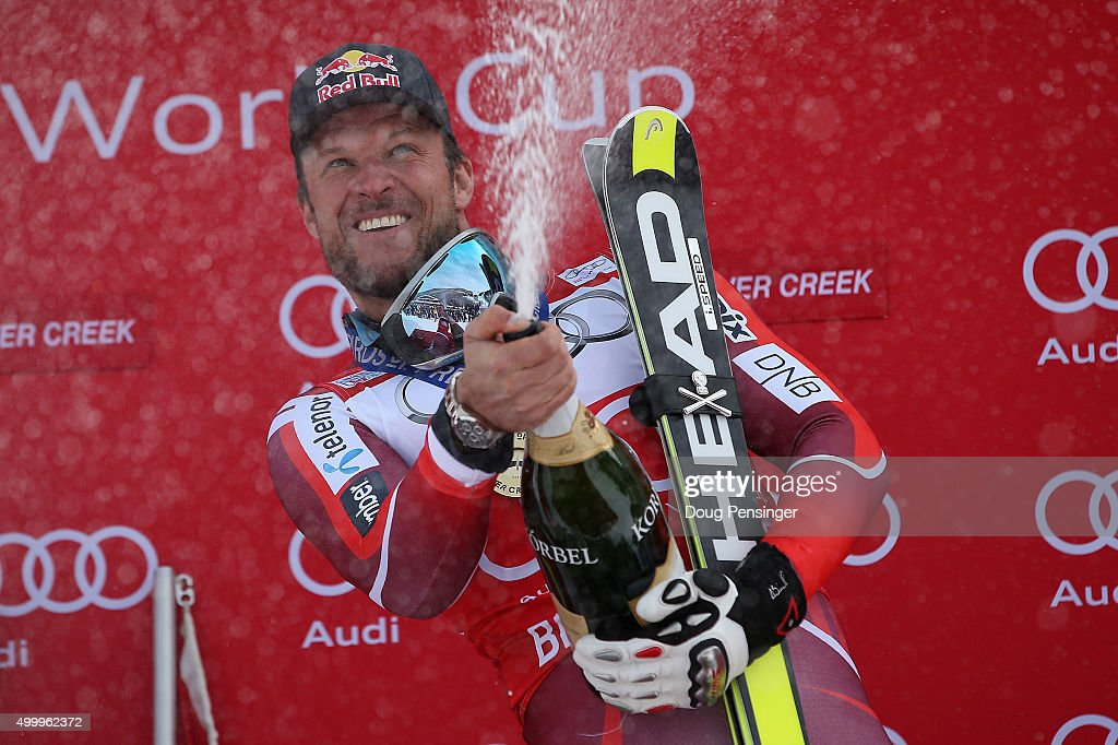 Aksel Lund Svindal of Norway celebrates with champagne on the podium after winning the men's downhill at the 2015 Audi FIS Ski World Cup on the Birds of Prey on December 4, 2015 in Beaver Creek, Colorado.