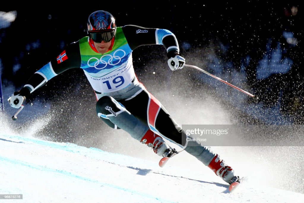 Aksel Lund Svindal of Norway competes in the men's alpine skiing SuperG on day 8 of the Vancouver 2010 Winter Olympics at Whistler Creekside on...
