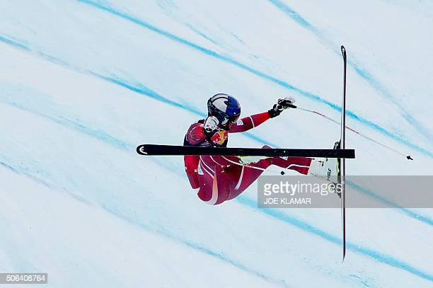 Aksel Lund Svindal of Norway crashes as he competes during the men's downhill of FIS Ski World cup in KitzbuehelAustria on January 23 2016 / AFP /...