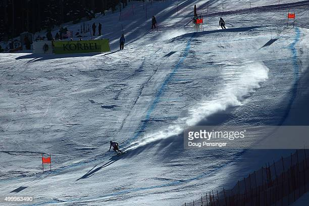 Aksel Lund Svindal of Norway descends the course en route to winning the men's downhill at the 2015 Audi FIS Ski World Cup on the Birds of Prey on...