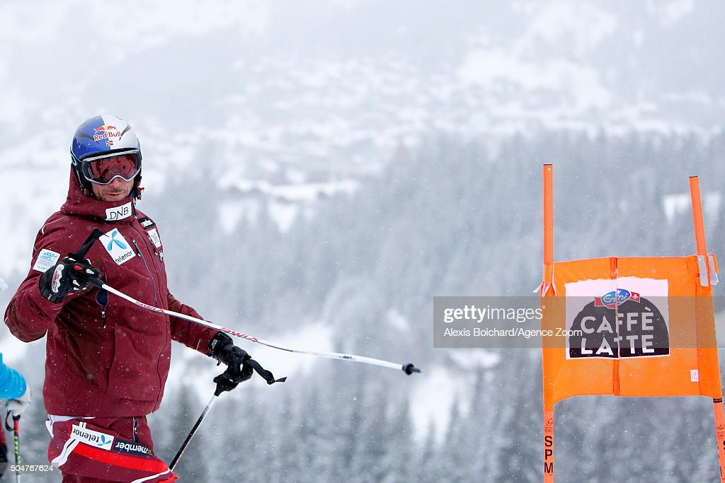 Aksel Lund Svindal of Norway during the Audi FIS Alpine Ski World Cup Men's Downhill Training on January 13 2016 in Wengen Switzerland