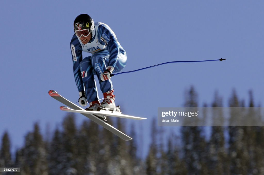 Aksel Lund Svindal of Norway flies to an eighth place finish during the mens World Cup Downhill on December 3, 2004 on the Birds of Prey course at Beaver Creek, Colorado.