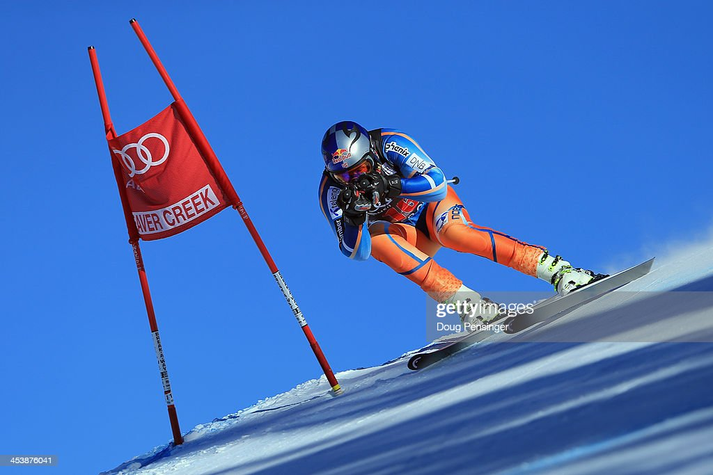 <a gi-track='captionPersonalityLinkClicked' href=/galleries/search?phrase=Aksel+Lund+Svindal&family=editorial&specificpeople=227957 ng-click='$event.stopPropagation()'>Aksel Lund Svindal</a> of Norway in action during downhill training for the Birds of Prey Audi FIS Ski World Cup on December 5, 2013 in Beaver Creek, Colorado.