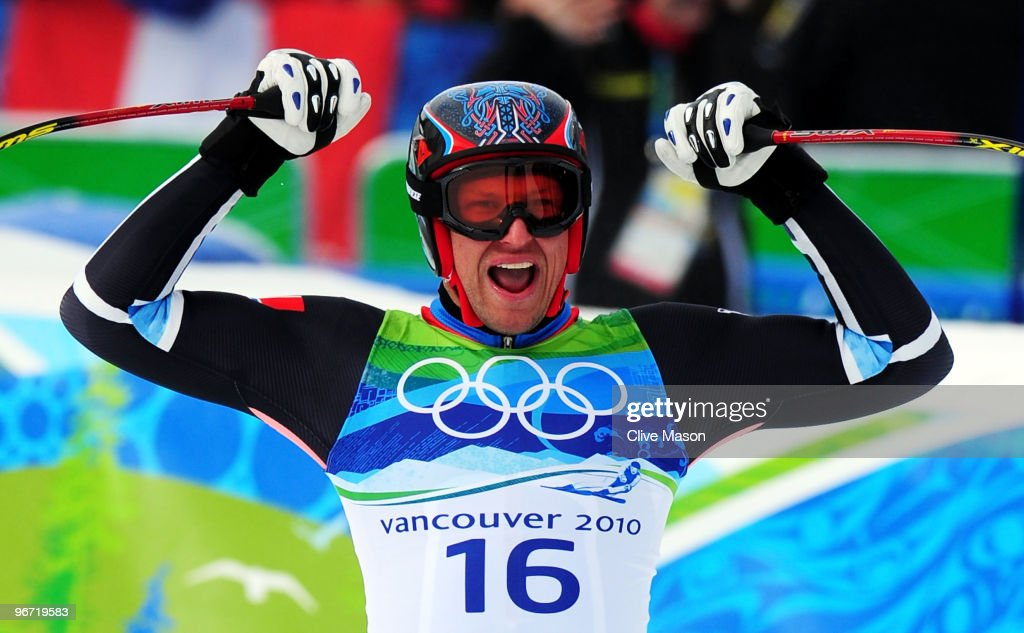 <a gi-track='captionPersonalityLinkClicked' href=/galleries/search?phrase=Aksel+Lund+Svindal&family=editorial&specificpeople=227957 ng-click='$event.stopPropagation()'>Aksel Lund Svindal</a> of Norway reacts after competing in the Alpine skiing Men's Downhill at Whistler Creekside during the Vancouver 2010 Winter Olympics on February 15, 2010 in Whistler, Canada.