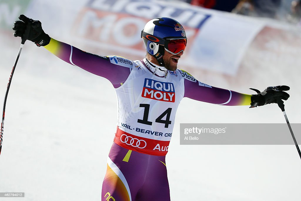 <a gi-track='captionPersonalityLinkClicked' href=/galleries/search?phrase=Aksel+Lund+Svindal&family=editorial&specificpeople=227957 ng-click='$event.stopPropagation()'>Aksel Lund Svindal</a> of Norway reacts after crossing the finish of the Men's Super-G in Red Tail Stadium on Day 4 of the 2015 FIS Alpine World Ski Championships on February 5, 2015 in Beaver Creek, Colorado.