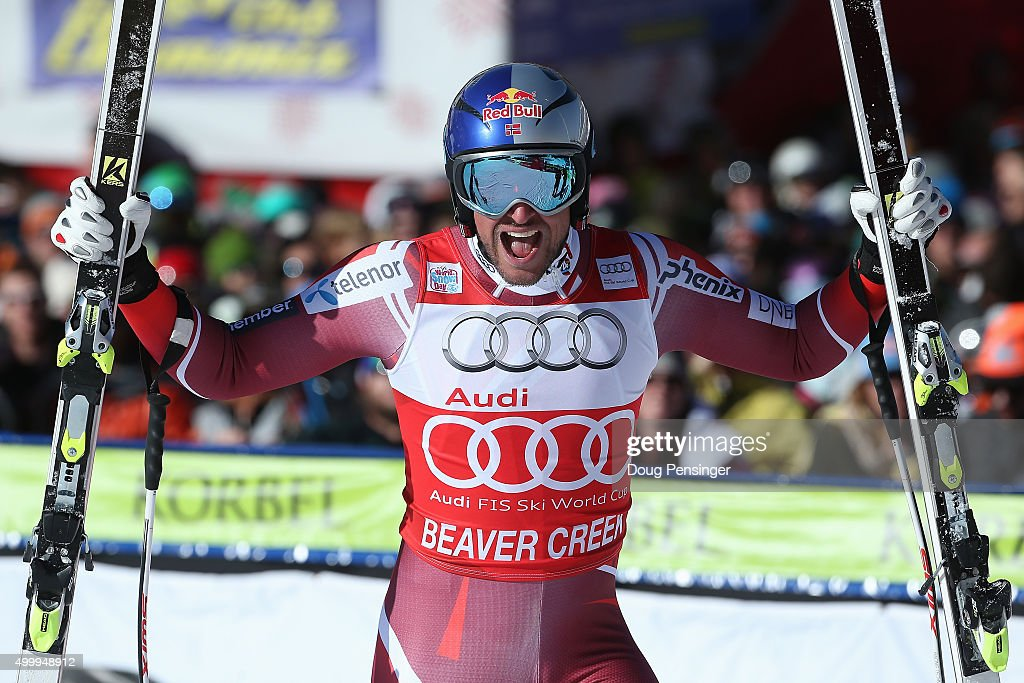 <a gi-track='captionPersonalityLinkClicked' href=/galleries/search?phrase=Aksel+Lund+Svindal&family=editorial&specificpeople=227957 ng-click='$event.stopPropagation()'>Aksel Lund Svindal</a> of Norway reacts after his finish in the men's downhill at the 2015 Audi FIS Ski World Cup on the Birds of Prey on December 4, 2015 in Beaver Creek, Colorado.