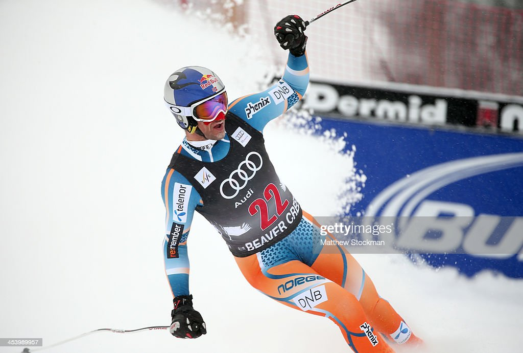 <a gi-track='captionPersonalityLinkClicked' href=/galleries/search?phrase=Aksel+Lund+Svindal&family=editorial&specificpeople=227957 ng-click='$event.stopPropagation()'>Aksel Lund Svindal</a> of Norway reacts at the end of his run during the men's downhill race for the Birds of Prey Audi FIS Ski World Cup on December 6, 2013 in Beaver Creek, Colorado.