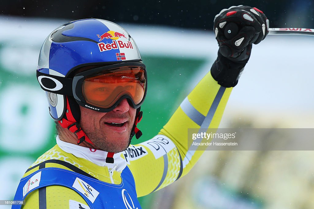 <a gi-track='captionPersonalityLinkClicked' href=/galleries/search?phrase=Aksel+Lund+Svindal&family=editorial&specificpeople=227957 ng-click='$event.stopPropagation()'>Aksel Lund Svindal</a> of Norway reacts in the finish area after skiing in the Men's Downhill during the Alpine FIS Ski World Championships on February 9, 2013 in Schladming, Austria.