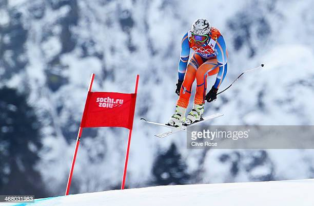 Aksel Lund Svindal of Norway skis during the Alpine Men's Downhill on day two of the Sochi 2014 Winter Olympics at Rosa Khutor Alpine Center on...