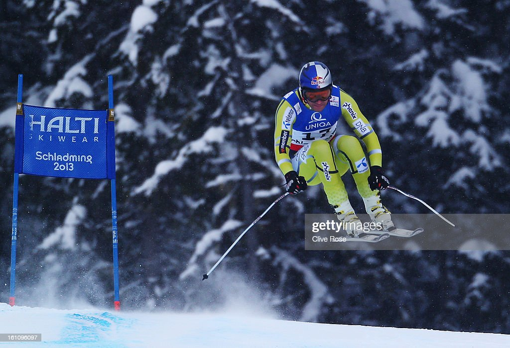 <a gi-track='captionPersonalityLinkClicked' href=/galleries/search?phrase=Aksel+Lund+Svindal&family=editorial&specificpeople=227957 ng-click='$event.stopPropagation()'>Aksel Lund Svindal</a> of Norway skis in the Men's Downhill during the Alpine FIS Ski World Championships on February 9, 2013 in Schladming, Austria.