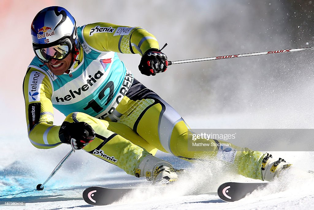 <a gi-track='captionPersonalityLinkClicked' href=/galleries/search?phrase=Aksel+Lund+Svindal&family=editorial&specificpeople=227957 ng-click='$event.stopPropagation()'>Aksel Lund Svindal</a> #12 of Norway skis in the second run of the men's Giant Slalom on the Birds of Prey at the Audi FIS World Cup on December 2, 2012 in Beaver Creek, Colorado.